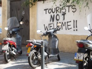 Tourist not Welcome. Graffiti in Barcelona.